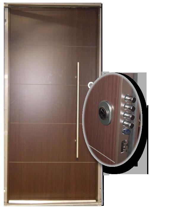 Blocs portes de s curit acier habillage bois cantini for Habillage encadrement de porte